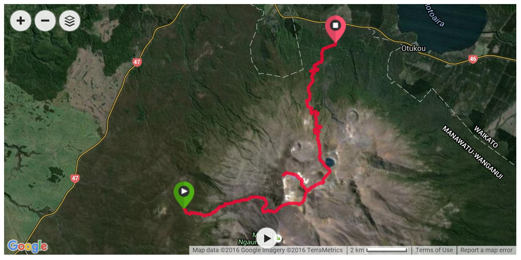 Tongariro Alpine Crossing Satellite