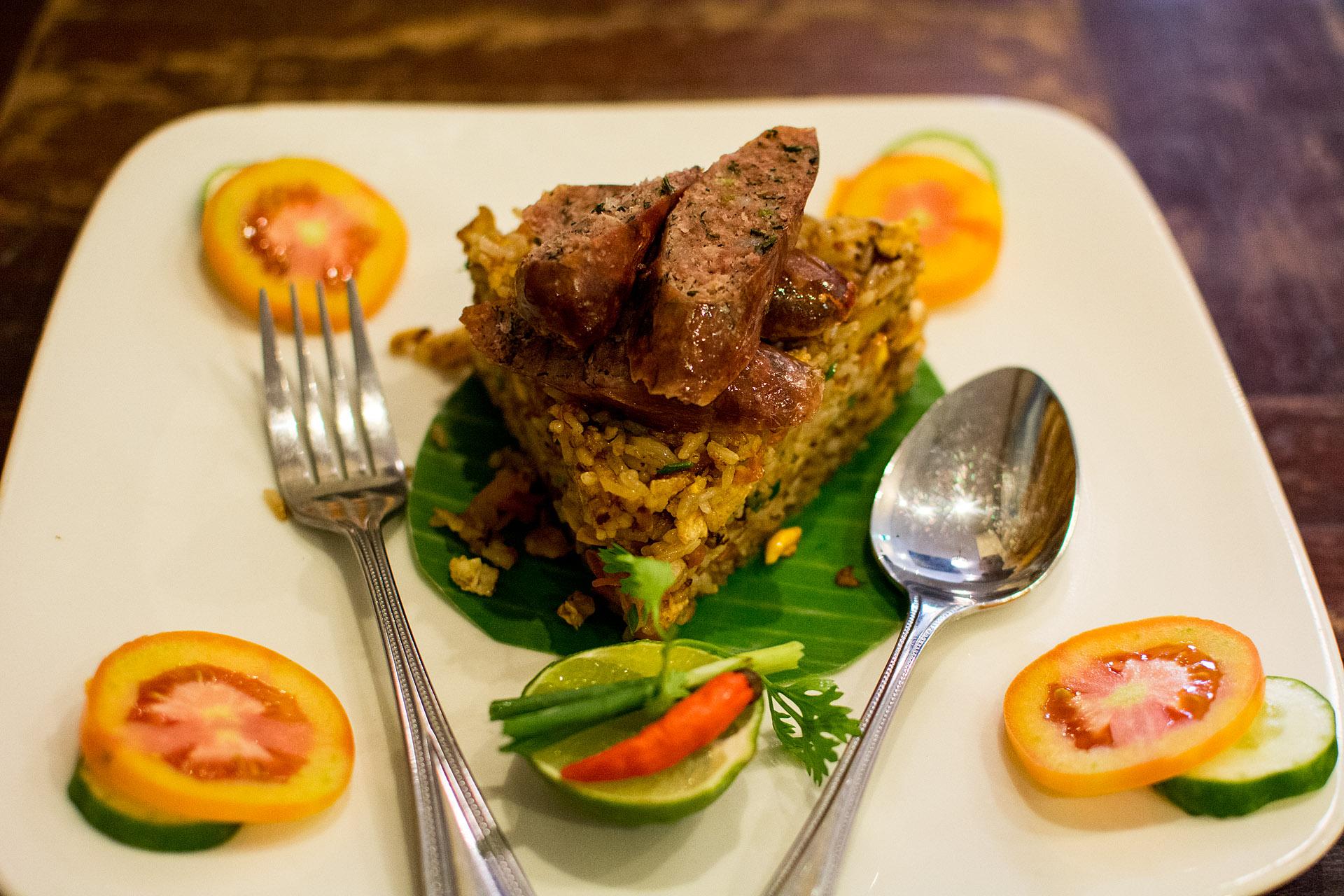 Fried rice w/ Luang Prabang sausage (Indigo Cafe)