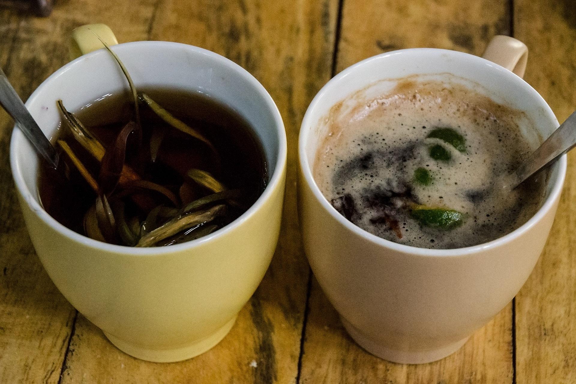 Artichoke tea, coffee cherry tea w/ kumquat & cinnamon