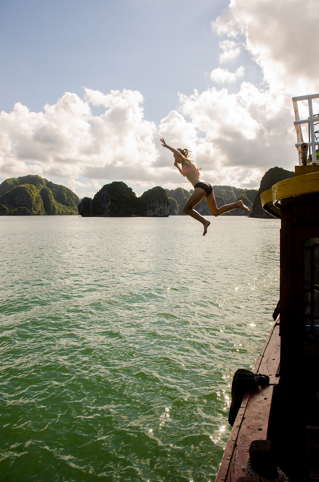 Jumping off the boat in Lan Ha Bay