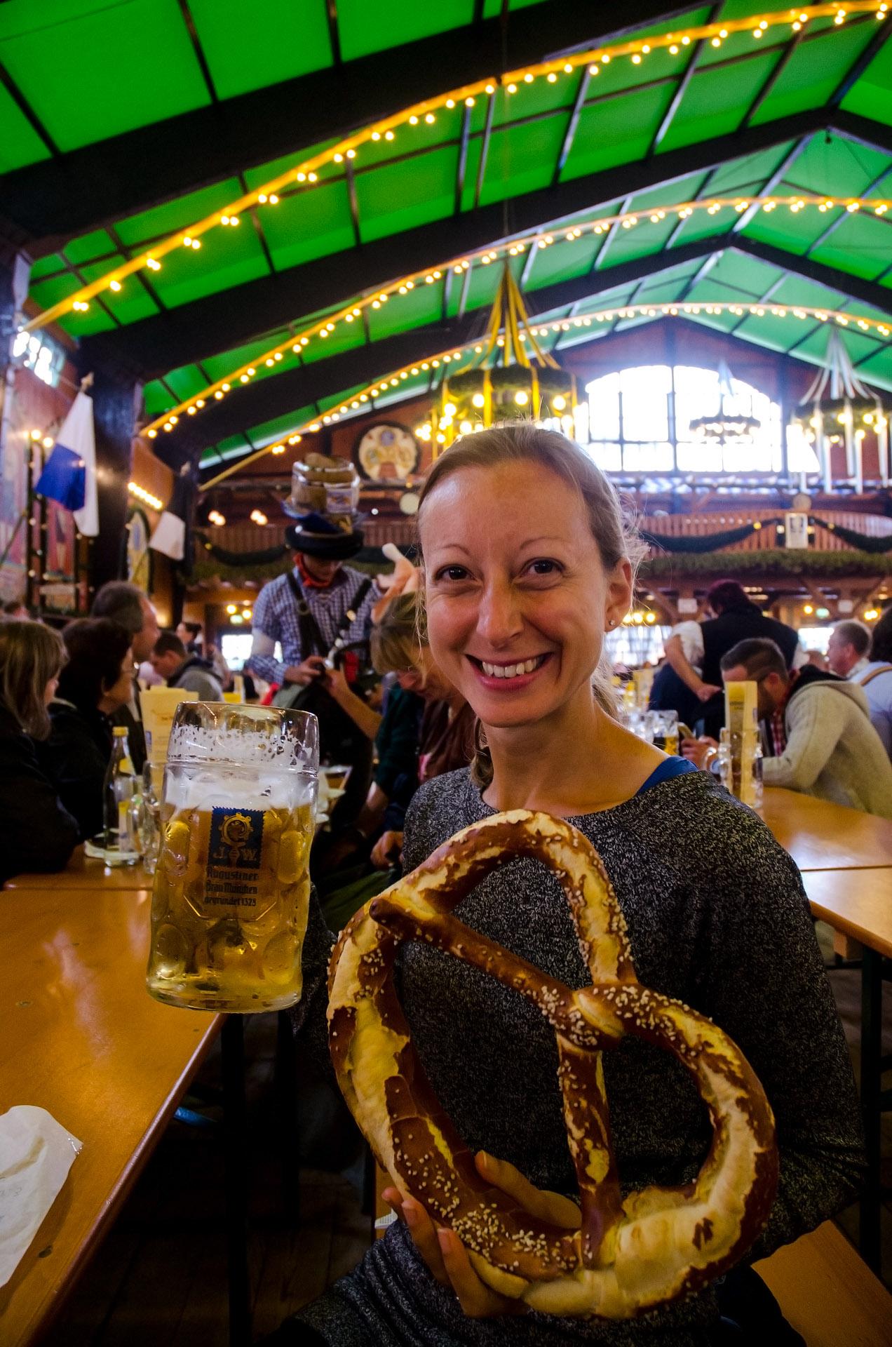 Fest beer & a giant pretzel
