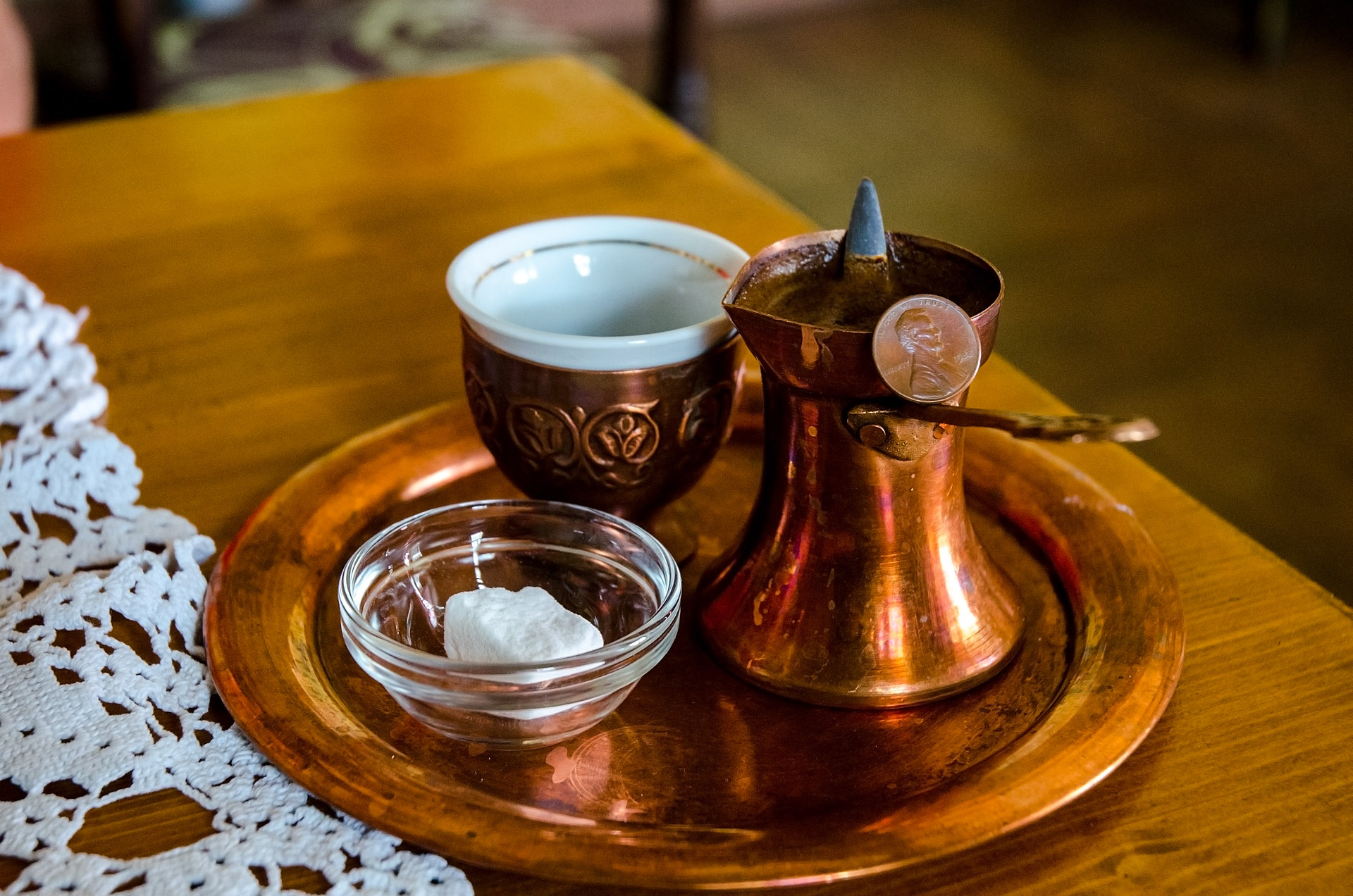 Enjoying some Bosnian coffee