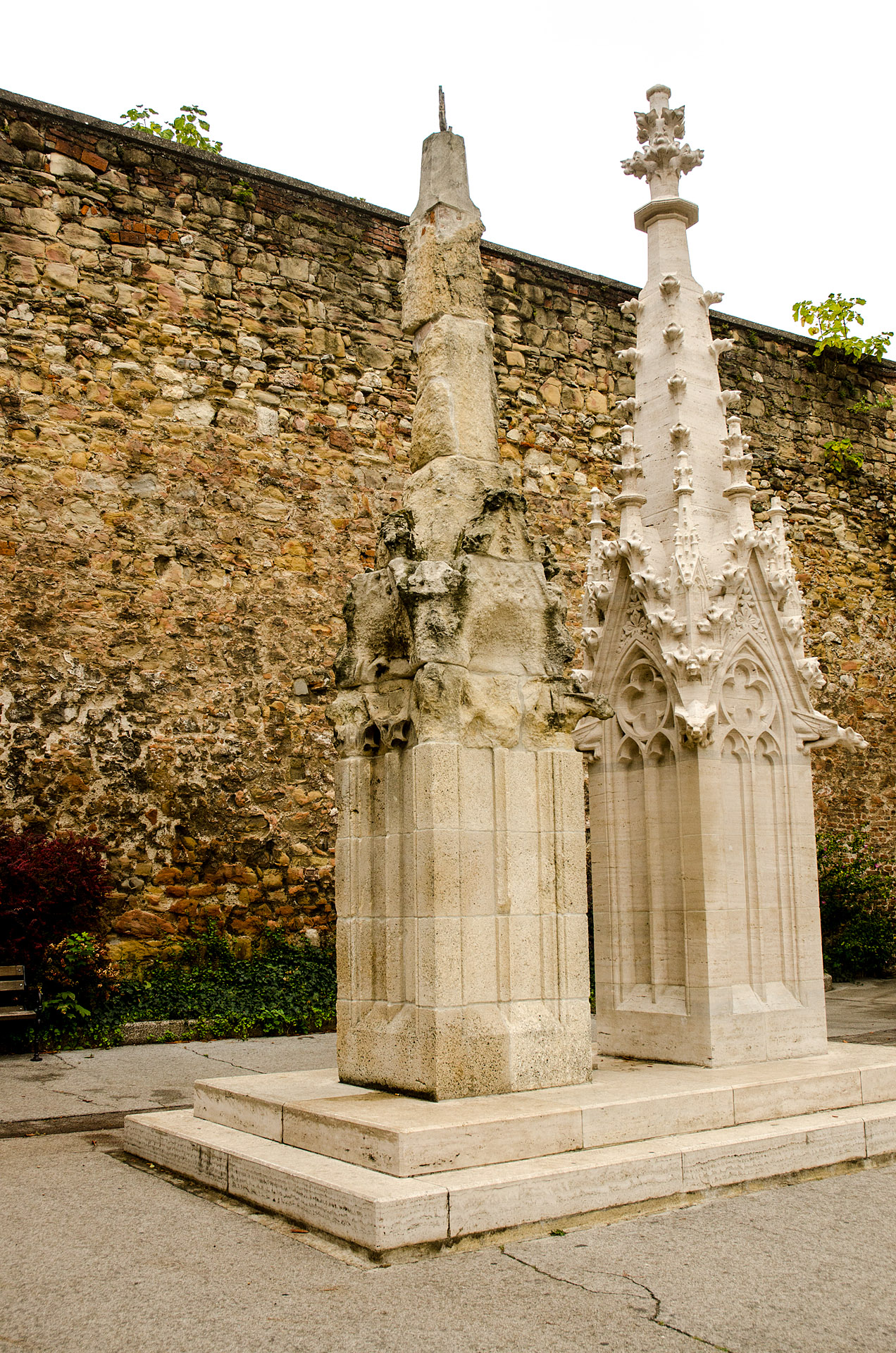 Cathedral spires (unrestored and restored)