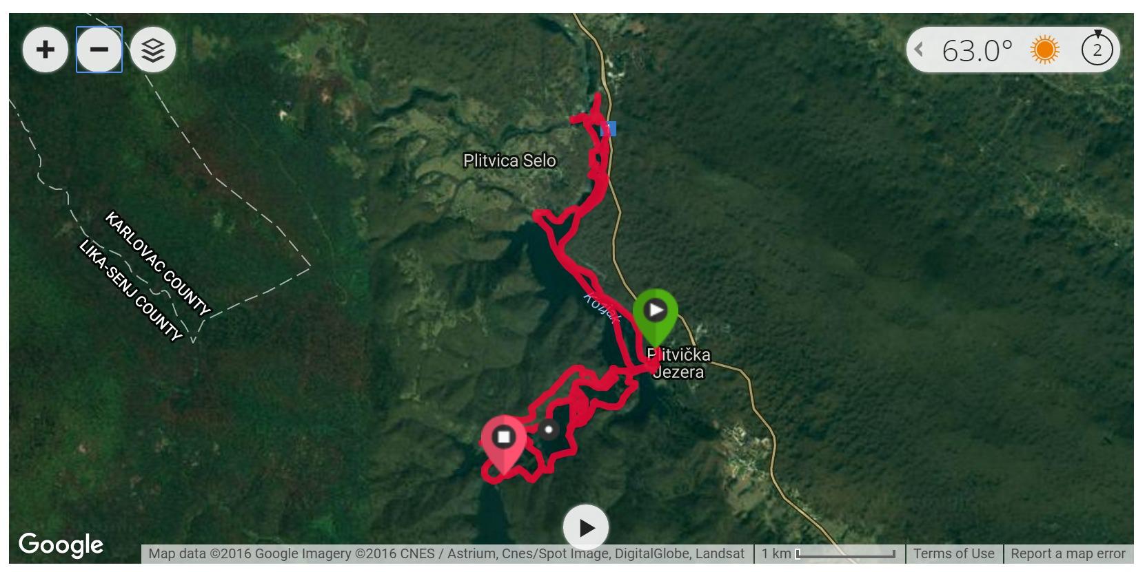 Plitvice Lakes Hike 1 - Satellite