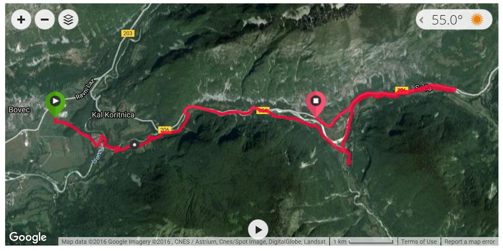 Soca River Trail - Satellite