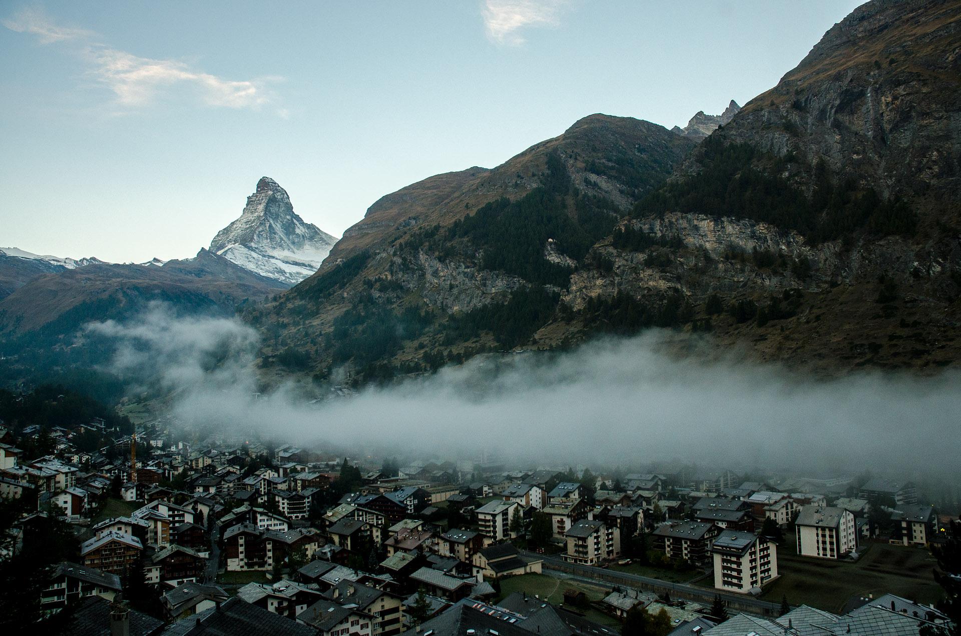 Zermatt village at sunrise
