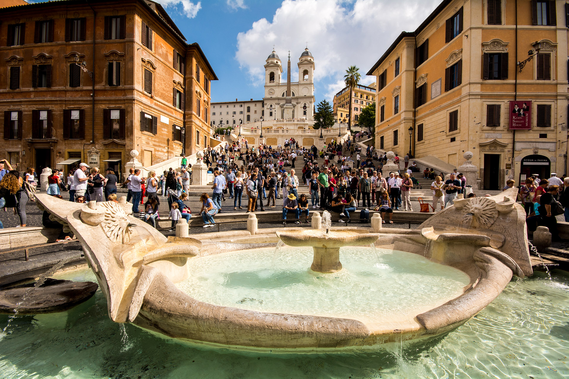 Spanish Steps & Fontana della Barcaccia ('Fountain of the Old Boat')