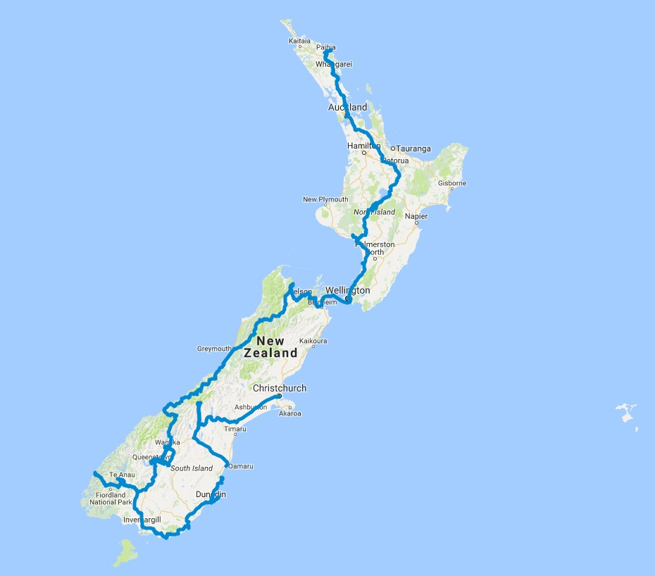 Driving Route - Christchurch to Auckland