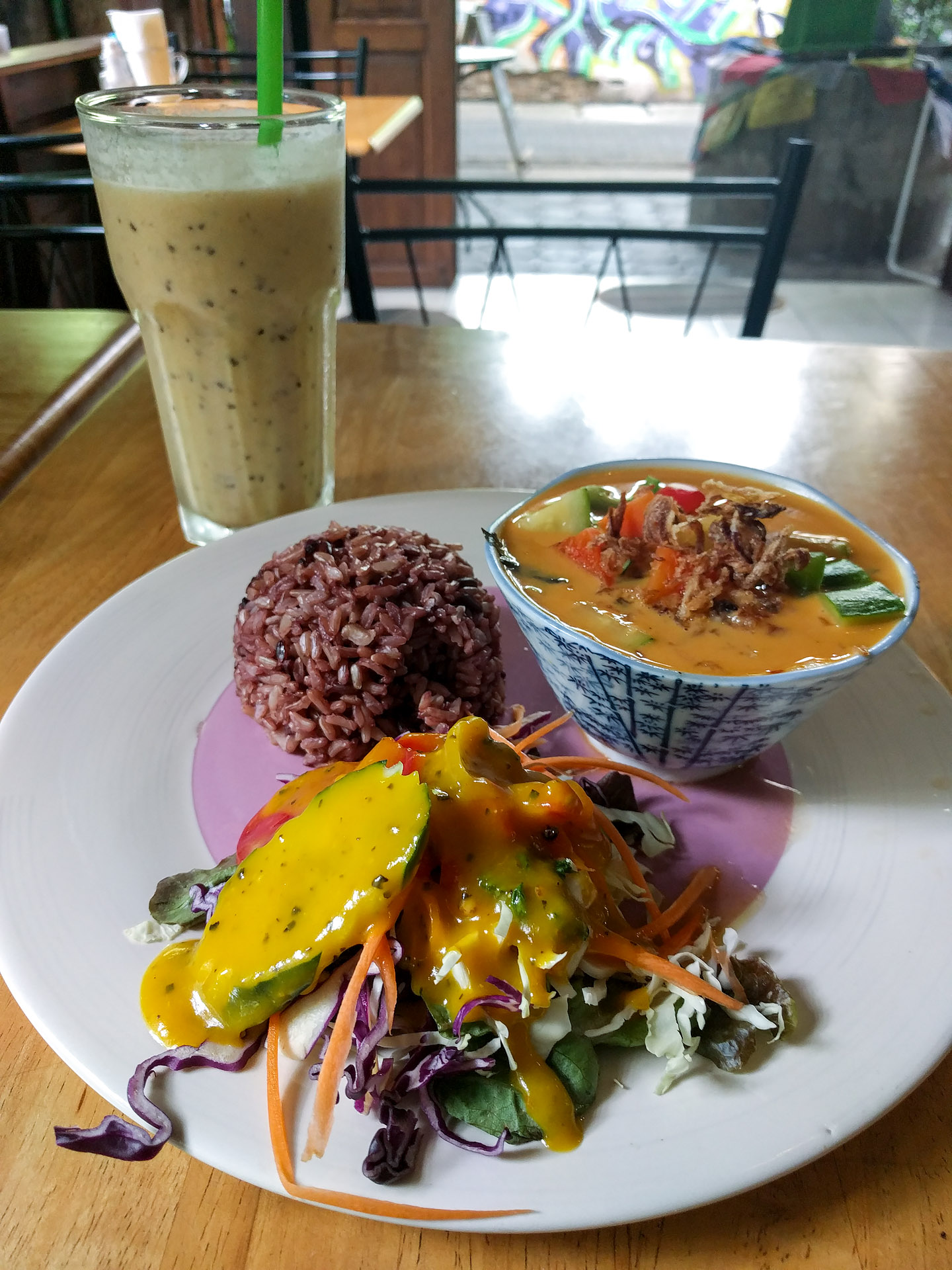 Thai red curry w/ passionfruit, banana, coconut smoothie