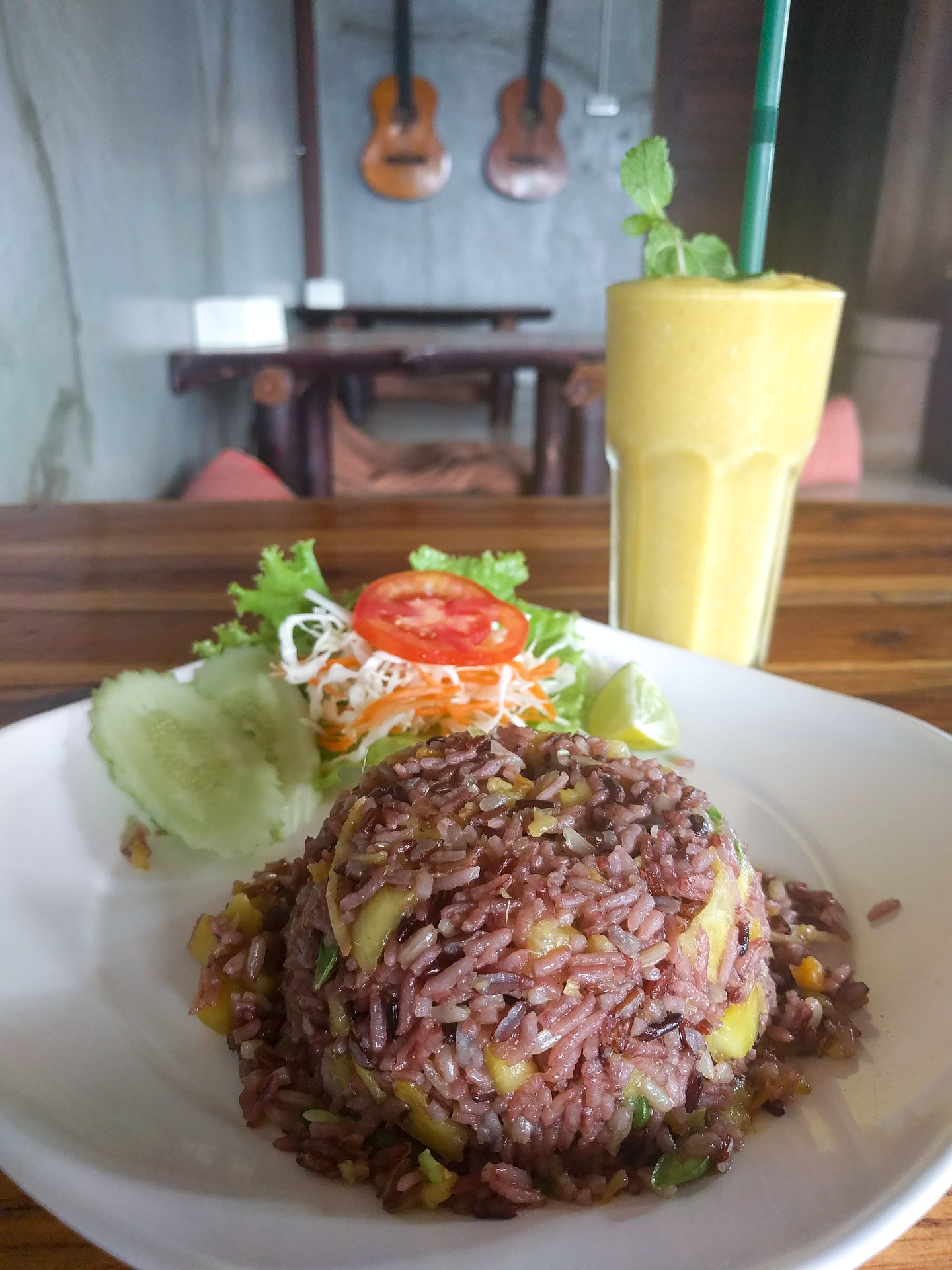 Pineapple fried rice w/ coconut mango smoothie