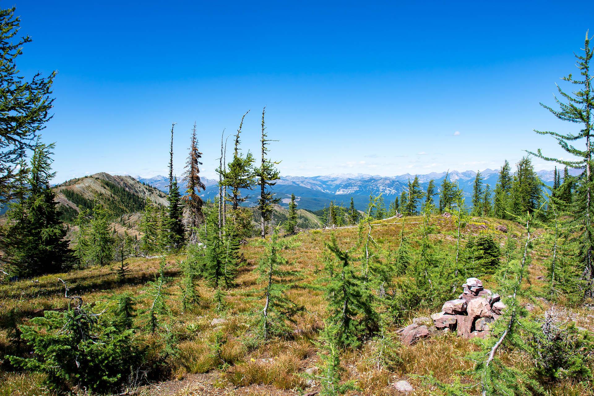 Last cairn & Mt. Hefty (summit to left)