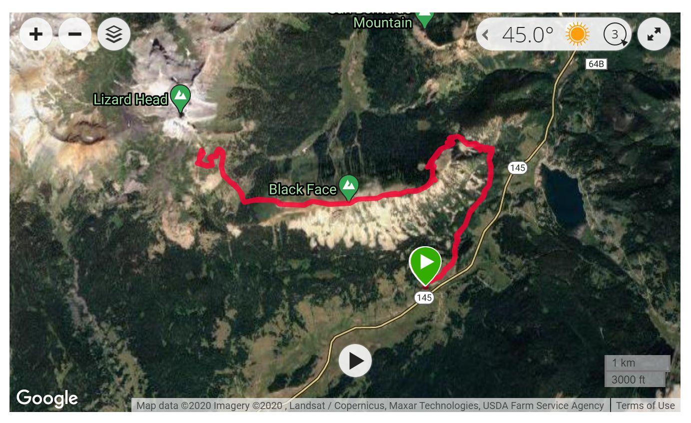 Lizard Head Pass - Satellite