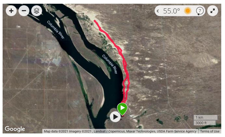 Hanford Reach North Slope - Satellite